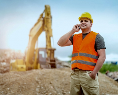 Construction worker alone on site